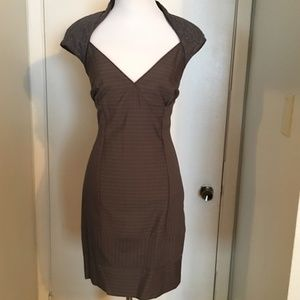 bebe Dresses - BEBE Belted Bustier Gray Dress lace New no tags S
